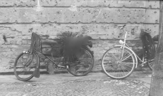 Two chimney sweeps' bicycles parked in East Berlin circa 1993 (photo: B. Newson).