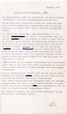 Brigadtagebuch - 1985 Ann Rpt
