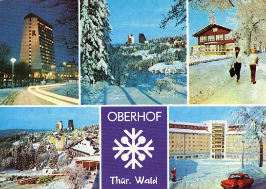 """Oberhof in 1980 - clockwise from top left: Rennsteig Hotel, View of Hotel Panorama, ****, View from Rennsteig and """"Fritz Heckert"""" Holiday Hotel."""