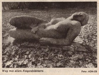 """Let the fig leaves fall"" - photo from front page of Junge Welt, Nov. 7, 1989."